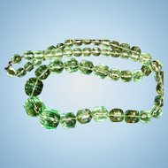 Faceted Mint Green Lucite Necklace Graduated Size Beads