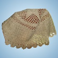 Crochet and Tatting Ecru Christening Cap Baby, Child, Large Doll