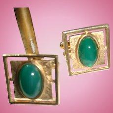 Anson Vintage Cufflinks Deep Jade Green Chrysophase Cabochon