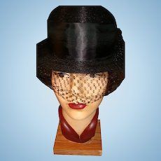 G. Howard Hodge Original Lady's Black Derby Style Hat With Veil Wide Satin Ribbon New York