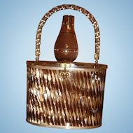 1940's - 50's Mother of Pearl Lucite Purse Starburst Flower Thumbprint Top Excellent