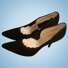 Trim Tred Classic Black Leather Suede Stiletto Heels Pumps Man Made 6 1/2  3A Over 5A