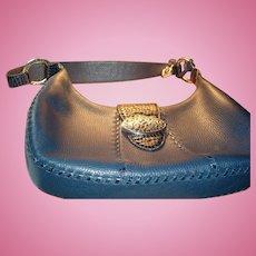 Authentic Brighton Retired Franki Denim Navy Leather MINT Mock Croc Handbag, Box, Dustbag