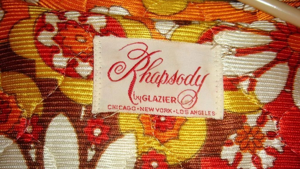 1960s Rhapsody By Glazier Quilted Robe Or Bed Jacket Bold