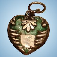 Very Old Sterling Silver Enamel Puffy Heart Charm Engraved LG