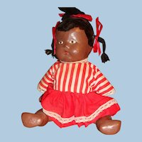 Pouty Face Black Jointed Composition Doll, Painted Features