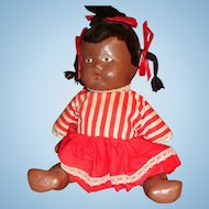 Pouty Black Child Composition Doll Painted Features Jointed, lllinois Estate