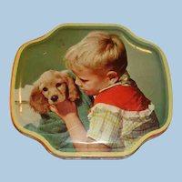 Vintage Tin Boy and His Dog Horner Filled With Buttons