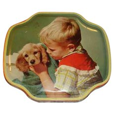 Vintage Tin Little Boy and His Dog Horner Filled With Buttons