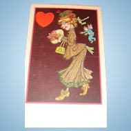 Early Whimsical Valentine's Day Postcard Cupid Butterfly Wings Fairy Dust
