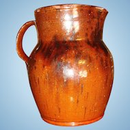 Early 19th Century Redware Pitcher Jug Manganese Decoration 7 Inches