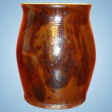 Early Redware Ovoid Crock With Black Manganese Decoration Indiana Estate