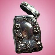 Coin Silver Repousse Match Safe or Vesta Case Box,  Flowers, Place for Monogram or Engraving: Art Nouveau