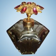 Western Germany Jeweled Lid Smoky Grey Vintage Glass Perfume Bottle Holm Spray