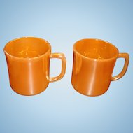 2 Child Size Fire King Peach Lustre Cups Mugs Shiny Inside and Out