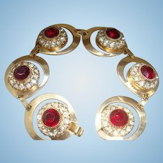 Vintage Bracelet 6 Crescent or Teardrop Shaped Settings Ruby Red & Clear Rhinestones