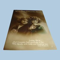 Real Photo Christmas Postcard Tinted Made in Italy Sisters Wordsworth Quote, Roses