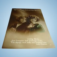 Real Photo Christmas Postcard Tinted Made in Italy Sisters Wordsworth Quote, Roses, Young Girls