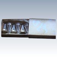 English Sterling Silver Wedding Bells Boxed Set Individual Salt Shakers