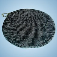 1920's Black Beaded Coin Purse Patent Number Metal Zipper IL Estate
