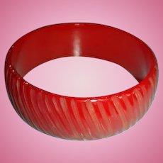 Carved Bakelite Bangle Bracelet Translucent True Red