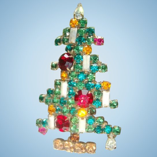 Large Book Piece Weiss 6 Candle Christmas Tree Brooch : The Loft Antiques | Ruby Lane