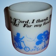 Vintage Hazel Atlas Kiddie Ware Blue and White Prayer Mug With Children