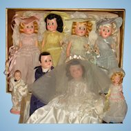 1946 Wedding Party Dolls Bride, Groom, Bridesmaids, Flower Girl, Ring Bearer