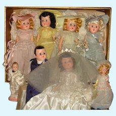 1946 Wedding Party Dolls Bride, Groom, Bridesmaids, Flower Girl, Ring Bearer