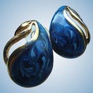 Vintage Pierced Earrings Swirled Shades of Blue Enameled Paisley Shape