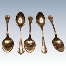 Set of 5 Gorham Sterling Silver Coffee Spoons Villa Norfolk 1903 Patent