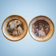 2 Italy Gold Gesso Wood Florentine Miniature Framed Prints Under Glass for French Fashion Doll