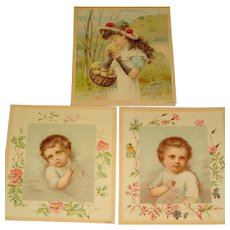 Set of 3 Early Baby and Child Lithographs or Trade Cards Marked Copyright