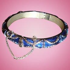 Vintage Trifari Hinged Cobalt Blue Enameled Bracelet With Safety Chain Braided Design