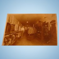 Vintage Early Fashion Photograph Men's Clothing Store Suits, Ties, Hats, Steamer Trunks, Argyle Sweaters, Wing Tips