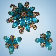 Vintage Aqua Marquise Aurora Borealis Brooch Earrings Set KY Estate