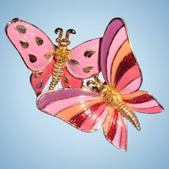 Brightly Enameled Boucher Butterflies Brooch Articulated, Signed and Numbered