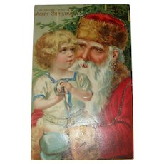 Early German Embossed Santa and Child Postcard Unsigned Brundage Blue Green Mittens