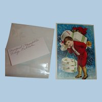 Early 1900 Embossed  Clapsaddle Frohliche Weihnachten German Christmas Postcard