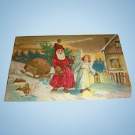 1919 Embossed Gold Gilt Dotted Robe Santa and Angel Postcard German