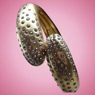 Vintage Bypass Hinged Snake Bracelet Satin Gold Finish With Rhinestones Signed