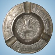 1934 Chicago World's Fair Century of Progress Advertising Souvenir Metal Ashtray Walgreen Drugs