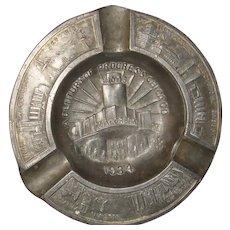 1934 Chicago World's Fair Century of Progress Advertising Souvenir Metal Ashtray Walgreen Drugs