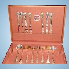 """37 Pieces Towle 1948  """"French Provincial"""" Sterling Silver Flatware, Round Bowl Soup Bouillon Spoons Wooden Chest"""