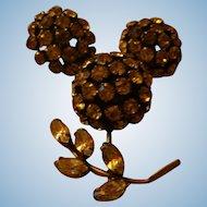 Warner Bright Citrine Yellow Rhinestone Gemstones Domed Flower Brooch and Earrings