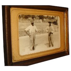 Early Black Americana Framed Photo or Postcard , Working Men in Overalls, Suspenders, Old Car
