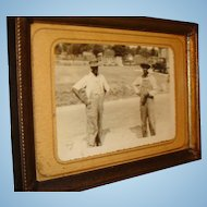 Early Black Americana Photo or Postcard in Old 5 x 7 Frame, 2 Working Men in Overalls, Suspenders, Old Car in Background