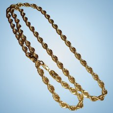 1980's 14K Gold 18 Inch Rope Necklace Chain Signed