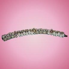 Kramer of New York Bracelet White Glass Cabochons, Aurora Borealis, Givre Glass, Faux Pearls
