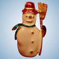 Figural Christmas Pin Enameled Snowman With Broom  Winter